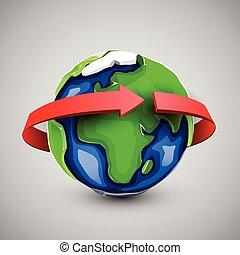 Globe design with around the world arrow.