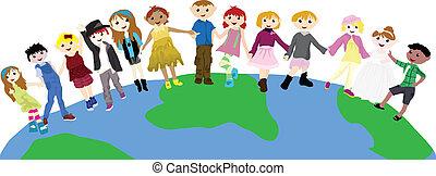 globe, dessin animé, enfants