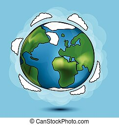 globe, dessin animé