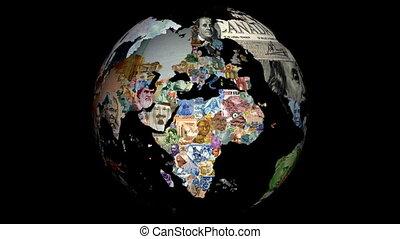 globe, devises, rotation
