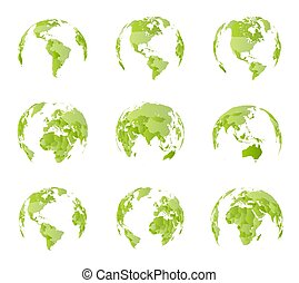Globe, different sides view. All country borders on world political map. Eastern and Western hemisphere. All world sides. Isolated vector illustration on white background.