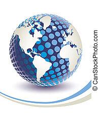 globe., digitale wereld, 3d