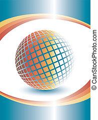globe., dimensionnel, coloré, trois