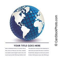 globe., dimensionnel, numérique, trois