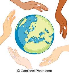 globe, divers, écologie, mains