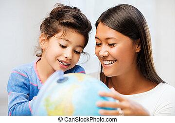 globe, dochter, moeder