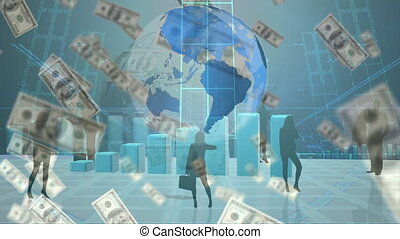 globe, données, billets banque, rotation, enregistrement, ...