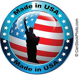 globe, drapeau etats-unis, fait, bouton