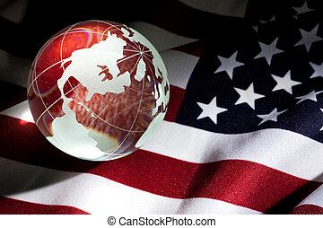 globe, drapeau, usa