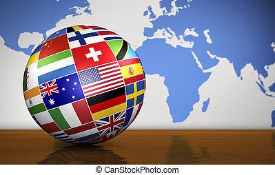 globe, drapeaux, affaires internationales