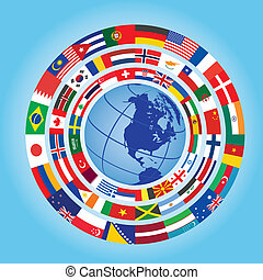 globe, drapeaux, autour de