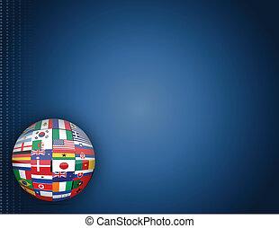globe, drapeaux, fond