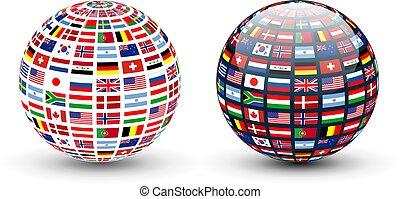 globe, drapeaux, mondiale