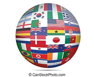 globe, drapeaux