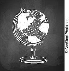 Globe drawn on chalkboard. Vector illustration. isolated.