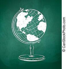 Globe drawn on green chalkboard.