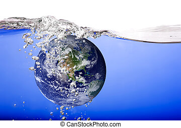 Globe Drowning - The world drowning in water and bubbles