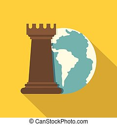 Globe Earth and chess rook icon, flat style - Globe Earth...