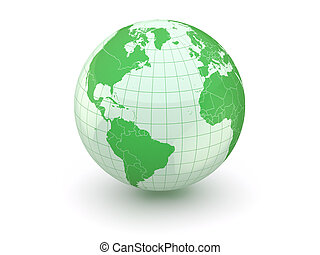 Globe. Earth and world map. 3d