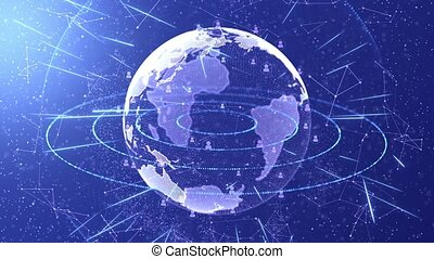 Globe Earth Hologram HUD Rotating Motion loop Animation