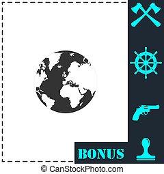 Globe Earth icon flat