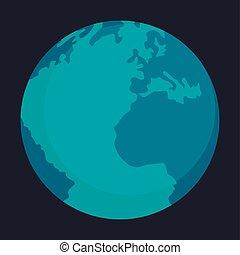 Globe earth icon, flat style