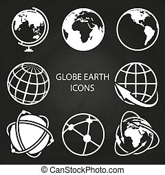 Globe earth icons collection on blackboard