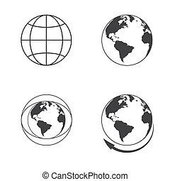 Globe earth icons set on white