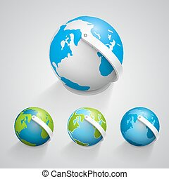 Globe earth icons set. Vector
