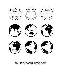 Globe Earth icons set, vector signs isolated on white