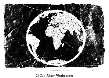 Globe earth icons themes idea design on crumpled paper