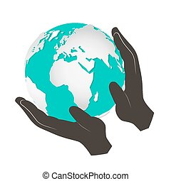 Globe - Earth in Hands Vector Illustration Isolated on White Background