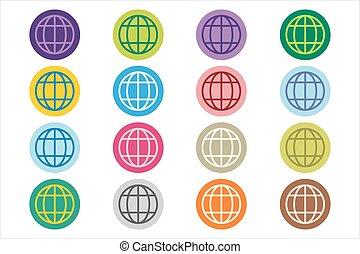 Globe Earth logo icon set