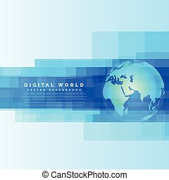 globe earth map on abstract digital blue background