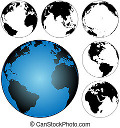 A set of 5 silhouette globes, views of the earth: Atlantic; Pacific; Americas; 2 Eastern Hemisphere.