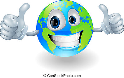 Globe earth mascot with thumbs up - Illustration of a...