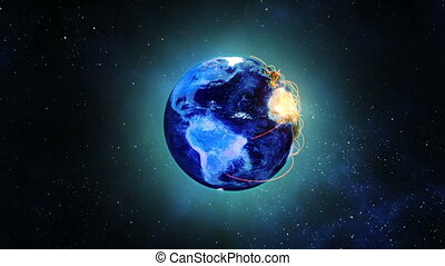 Globe earth rotating in space