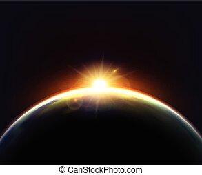 Globe Earth Sunlight Dark Background Poster