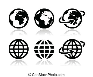 Globe earth vector icons set - World, map of continents as...