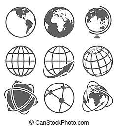 Globe earth vector icons set. Worldwide around globe and...