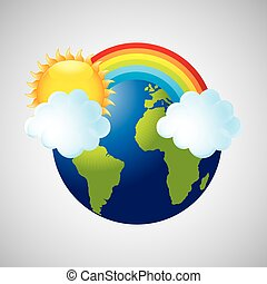 globe earth weather meteorology cloud rainbow vector...