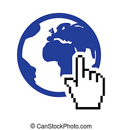 Globe, earth with cursor hand icon - Pixelated hand clicking...
