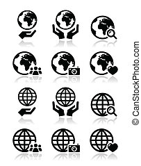 Globe earth with hands vector icons - World, globe with...