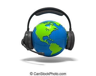 Globe earth with headphones and mic - 3d blue globe earth...