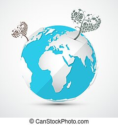 Globe - Earth with Heart Shaped Trees