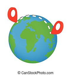 Globe earth with red pointer marks isometric 3d icon on a...