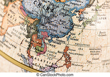 Globe East and Southeast Asia - Close-up of East and...