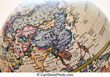 Globe East Asia. A globe is photoed by close-up.