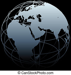 Map of Earth on a globe symbol with East West lines on a black background