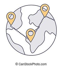 globe, emplacement, vecteur, international, indicateurs, business, connecté